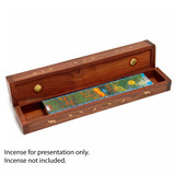 Double Compartment Incense Box - Brass Patterned Inlay