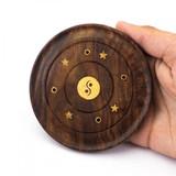 Mini Circular Wooden Incense Burner with Yin Yang Inlay