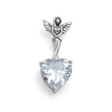 White Zirconia Heart Angel Pendant (Sterling Silver)