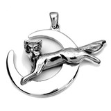 Fox Leaping Over Crescent Moon Pendant (Sterling Silver)