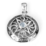 Twelve Signs of the Zodiac Pendant with Moonstone (Sterling Silver)