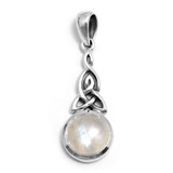 Triquetra Silver Pendant with Moonstone (Sterling Silver)