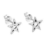 Small Pentagram Stud Earrings (Sterling Silver)