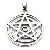 Pentagram Overlaying Sacred Spiral Pendant (Sterling Silver)