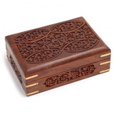 Ornate Wooden Card Box with Brass Corners