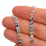Chakra Earrings with Faceted Crystals (Sterling Silver)