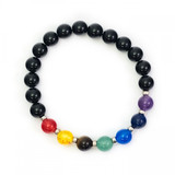 Chakra Crystal Bracelet (with Black Beads)