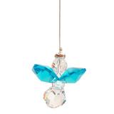 Dark Aquamarine Lead Crystal Hanging Angel