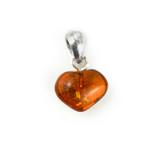 Tiny Baltic Amber Heart Pendant