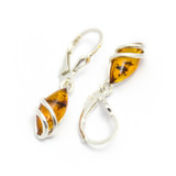 Baltic Amber Drop Earrings with Swirl Design (Sterling Silver)