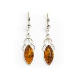 Baltic Amber Drop Earrings (Sterling Silver)