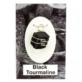 Black Tourmaline Wire Wrap Silver Pendant
