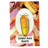 Golden Aura Quartz Wire Wrap Silver Pendant