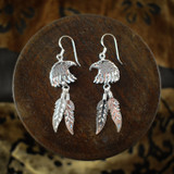 Eagle Earrings & Necklace with Silver Feathers & Turquoise (Sterling Silver)