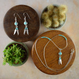Turquoise Earrings & Necklace with Silver Feathers (Sterling Silver)