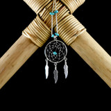 Large Dream Catcher Earrings & Necklace with Turquoise (Sterling Silver)