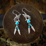 Silver Wolf Earrings & Necklace with Turquoise & Feathers (Sterling Silver)