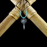 Medicine Shield Earrings & Necklace with Turquoise & Feather (Sterling Silver)