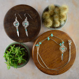Small 3D Dream Catcher Earrings & Necklace with Turquoise (Sterling Silver)