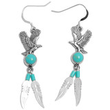 Eagle Earrings & Necklace with Turquoise & Feather (Sterling Silver)