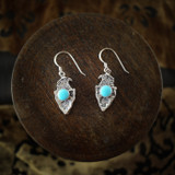 Silver Eagle Earrings & Necklace with Turquoise (Sterling Silver)