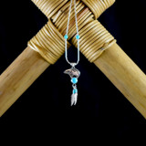 Silver Zuni Bear Earrings & Necklace with Turquoise & Feathers (Sterling Silver)