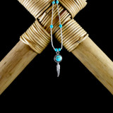 Turquoise Cabochon Earrings & Necklace with Silver Feather (Sterling Silver)