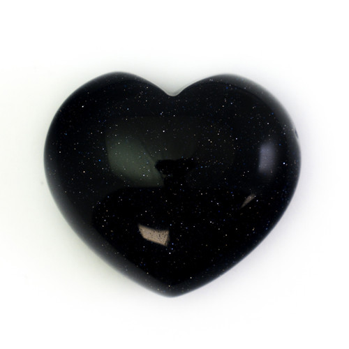 Blue Goldstone Crystal Heart