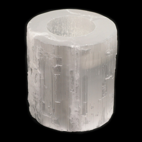 Round Selenite Candle Holder (Holds T-light candles)