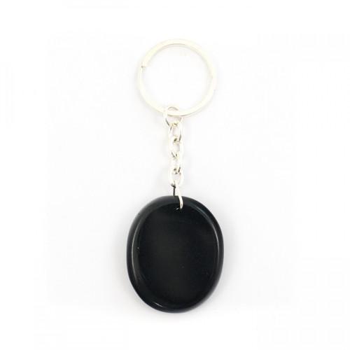 Black Jasper Crystal Keyring