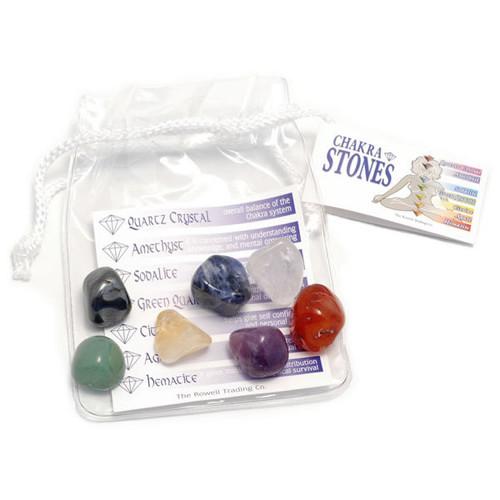 Chakra Tumblestone Set in a Clear Plastic Pouch