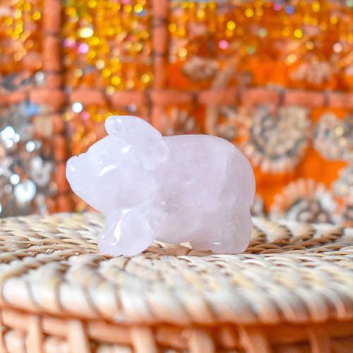 Rose Quartz Crystal Pig