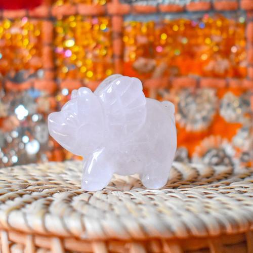 Rose Quartz Crystal Flying Pig