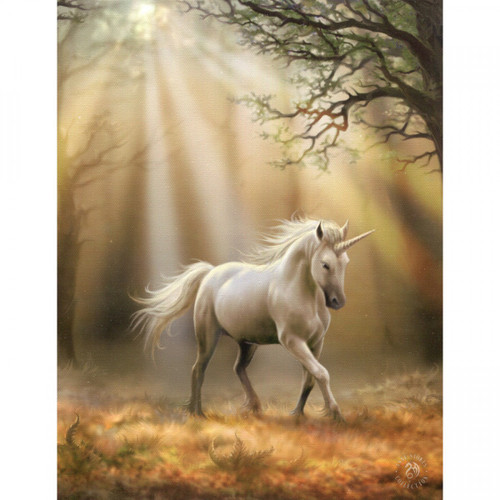 Glimpse of a Unicorn Canvas Plaque (25 x 19cm) by Anne Stokes