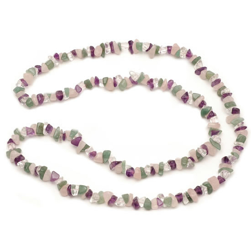 Four Stone Crystal Chip Necklace (36 Inch)