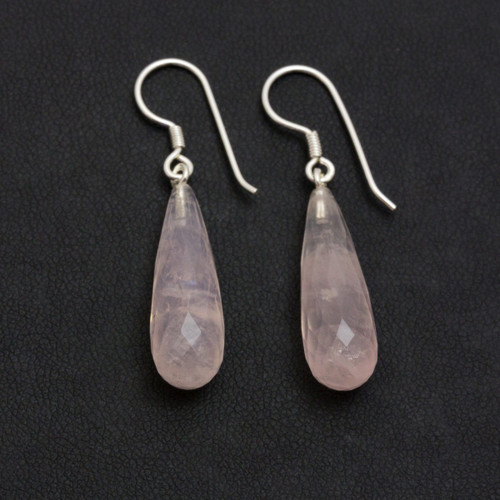 Faceted Rose Quartz Drop Crystal Earrings (Sterling Silver)