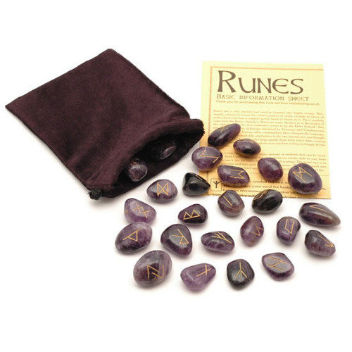 Amethyst Crystal Rune Stones