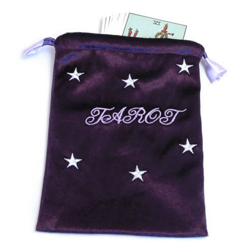 Deep Purple Tarot/Angel Card Bag - Stars and Tarot