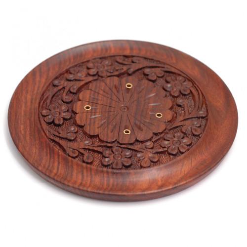Hand Carved Floral Wooden Circular Incense Holder