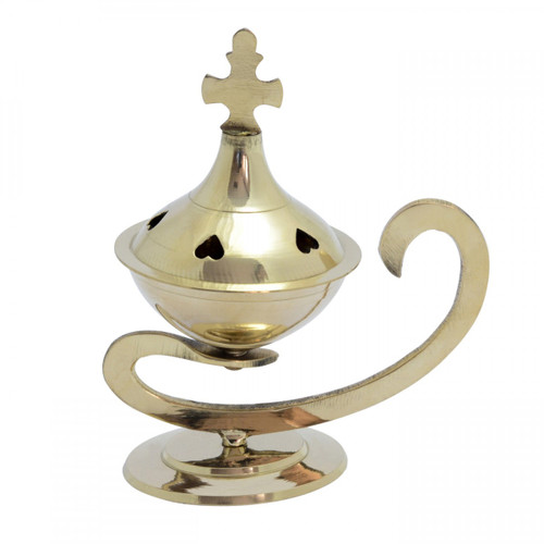 Brass Burner with Hearts & Handle