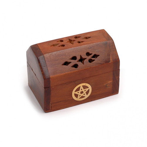 Mini Wooden Incense Cone Box with Brass Pentacle Inlay