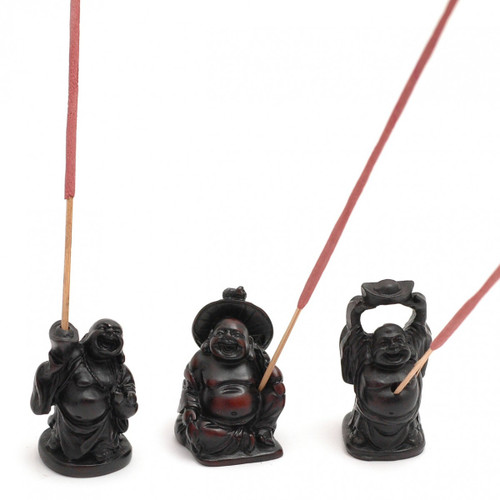 Resin Buddhas Incense Stick Holders (Set of 3)