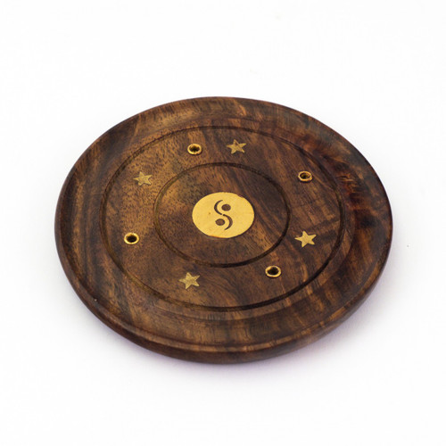 Mini Circular Wooden Incense Burner with Yin Yang Inlay