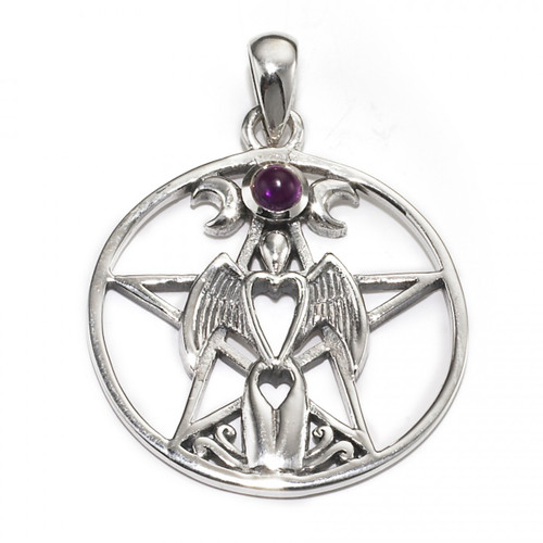 Angel Pentacle Pendant with Amethyst (Sterling Silver)