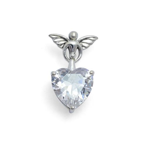 White Zirconia Angel & Baby Heart Pendant (Sterling Silver)