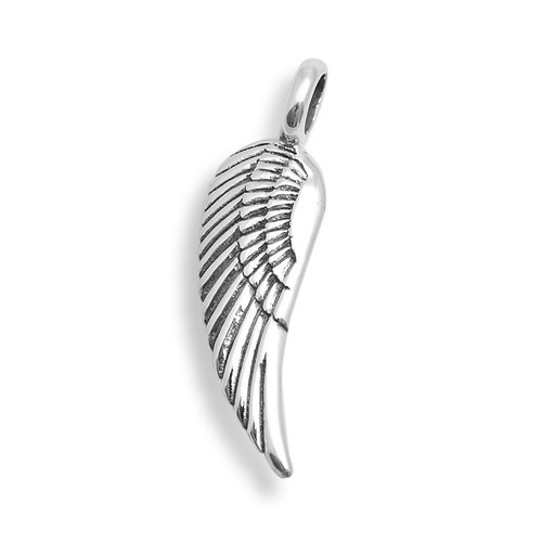 Single Angel Wing Pendant (Sterling Silver)