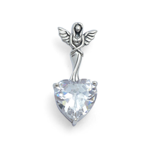 White Zirconia Heart Angel Pendant (Sterling Silver)