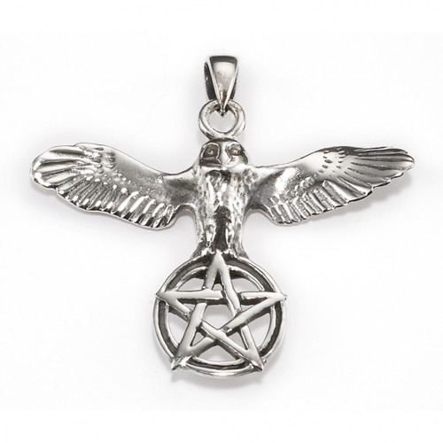 Embrace of the Owl Pentagram Pendant (Sterling Silver)