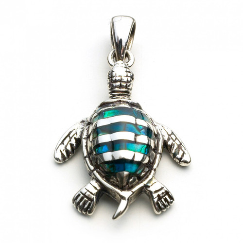 Turtle with Paua Shell Pendant (Sterling Silver)