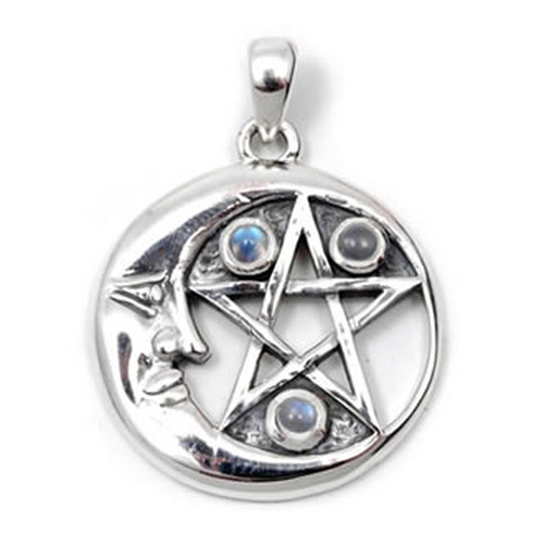 Moon & Pentagram Pendant with Moonstone (Sterling Silver)